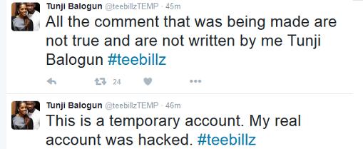 TeeBillz Opens New Twitter Account, Says His Instagram Was Hacked