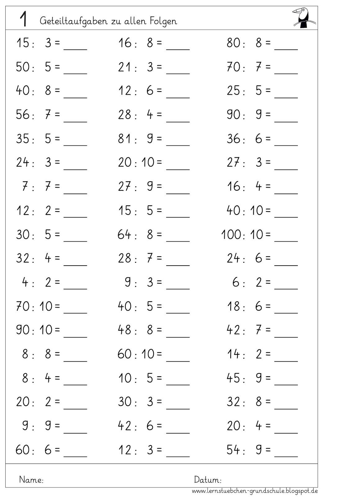 Lernstubchen Kopfrechenblatter Zu Den Geteiltaufgaben