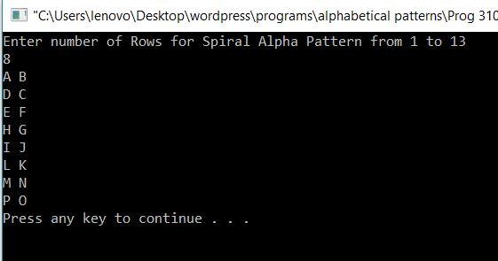 Spiral Alphabet Pattern in C