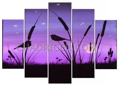 http://www.cuadricer.com/cuadros-pintados-a-mano-por-colores/cuadros-morados-violetas/cuadros-juncos-pareja-pajaros-puesta-sol-morados-2142.html