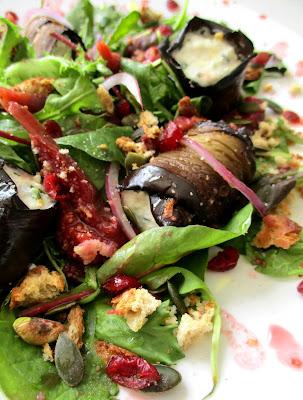 Salade d'Aubergines grillées au Chèvre Frais & Figues rôties au Tamarin