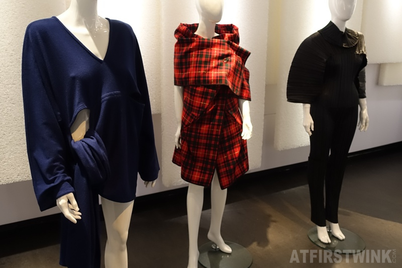 Museum Volkenkunde Leiden Netherlands Cool Japan exhibit blue sweater red tartan draped dress Kawakubo Rei Comme des Garçons black trouser suit Issey Miyake Pleats please.