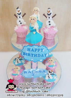 Cupcake Tier Frozen Elsa dan Olaf