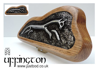 Uffington sculpted metal and oak wall plaque