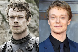 Game of Thrones actors with and without their beards,Theon Greyjoy / Alfie Allen