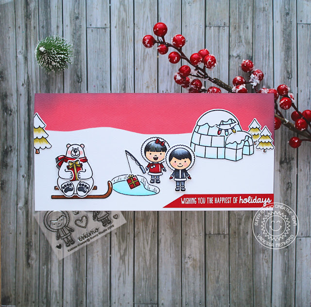 Sunny Studio Stamps: Eskimo Kisses Polar Playmates Playful Polar Bears Slim Sized Winter Themed Holiday Card with Vanessa Menhorn