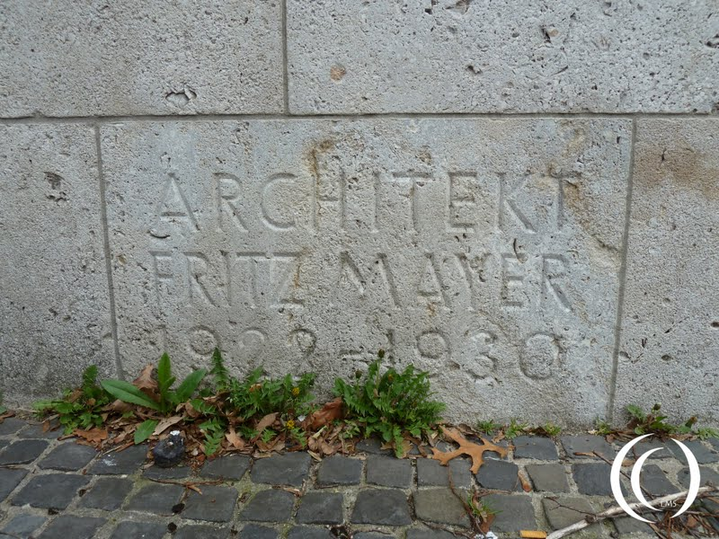 The name of architect Franz Mayer inscribed in the Erenhalle wall