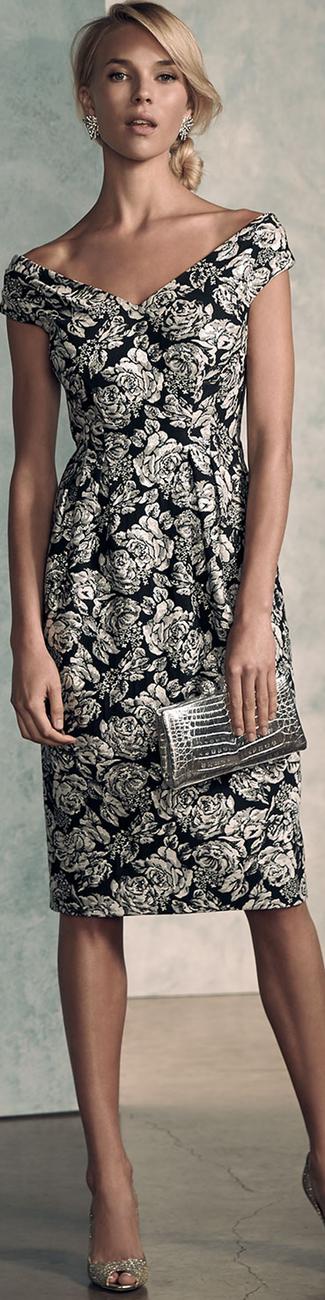 Kay Unger New York Cap-Sleeve Floral Jacquard Sheath Dress