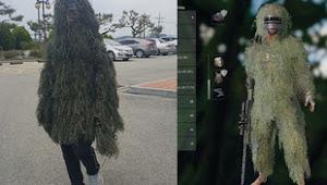 Độc đáo như fan PUBG: làm hẳn bộ đồ cỏ ngoài đời thực để sinh tồn giữa nắng nóng