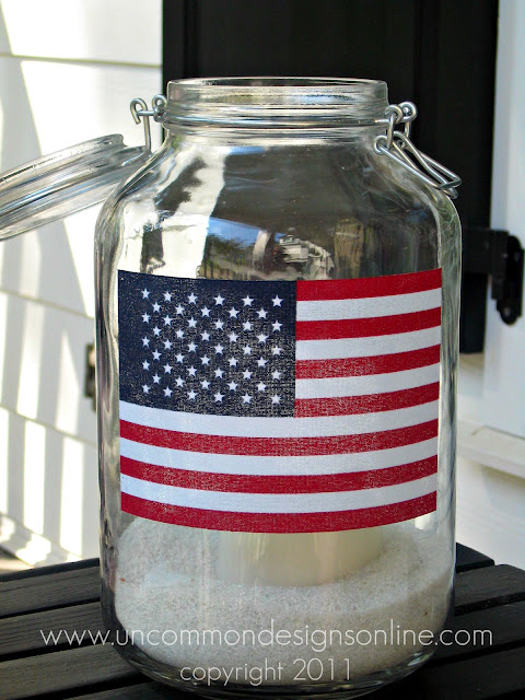 Create a simple and patriotic 4th of July Flag Mason Jar . #4thof july #americanflag #modpodge