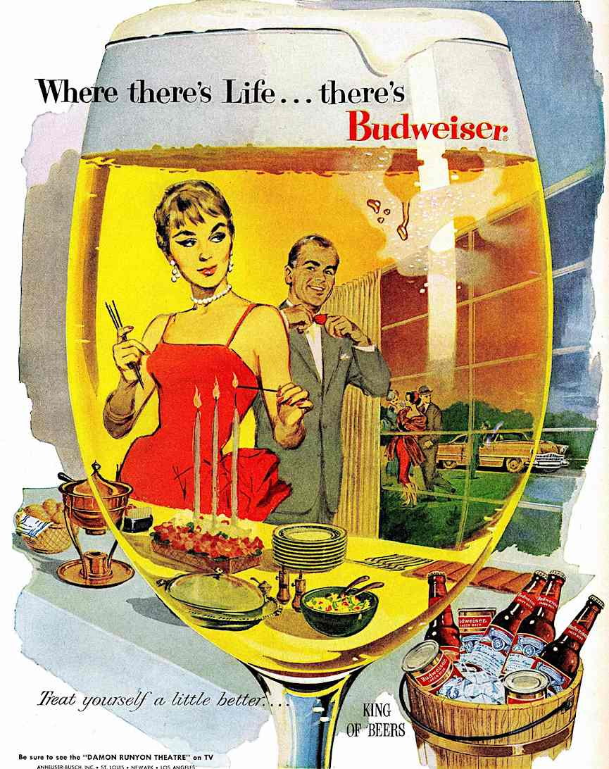 1959 Budweiser beer, a color illustration, where there's life there's Budweiser