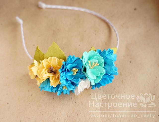детская повязка с цветами из фоамирана