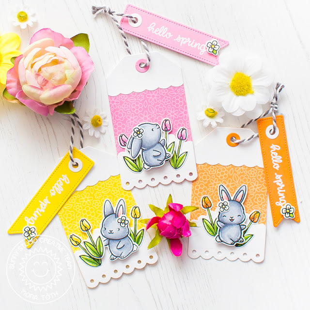 Sunny Studio Stamps: Chubby Bunny Fancy Frames Spring Greetings Build-A-Tag Hello Spring Card by Mona Toth