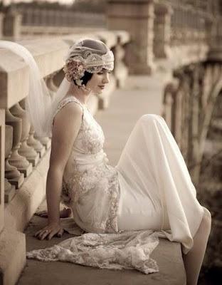vestido noiva retro vintage anos 20 lindo simples véu grinalda