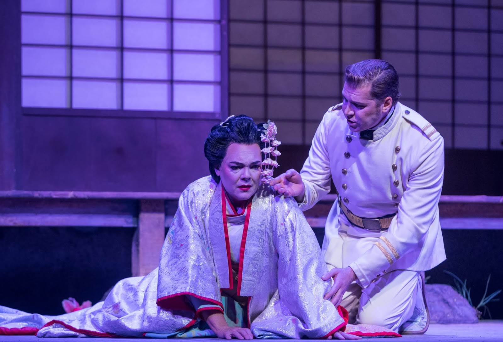 IN PERFORMANCE: soprano JILL GARDNER as Cio-Cio-San (left) and tenor CODY AUSTIN as Pinkerton (right) in Greensboro Opera's production of Giacomo Puccini's MADAMA BUTTERFLY, 9 November 2018 [Photo by Vanderveen Photography, © by Greensboro Opera]
