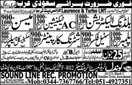 New Jobs In Gondal Trade Test And Training Center for saudi arabia 24 June 2019