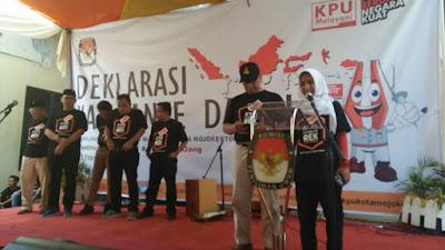 Deklarasi Kampanye Damai Pilwali Mojokerto, Paslon Saling Unjuk Parikan