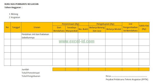 Format Buku Kas Pembantu Kegiatan Desa Format Excel