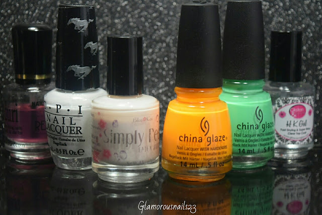 Duri Rejuvacote, O.P.I. Angel With A Lead Foot, Bliss Kiss Simply Peel Latex Barrier, China Glaze Sun Worshiper, China Glaze Treble Maker, Glisten & Glow HK Girl Fast Drying Top Coat