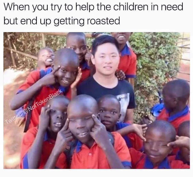 chinese dude getting roasted by poor african kids
