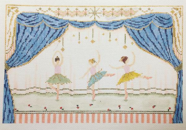Three ballerinas on stage needlepoint canvas