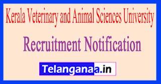 Kerala Veterinary and Animal Sciences University Recruitment Notification 2017