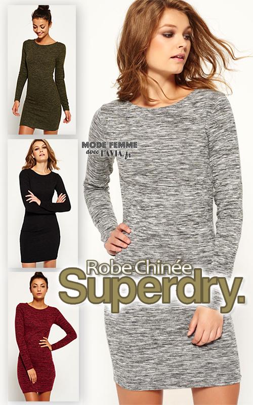 Robe moulante en jersey chinée SUPERDRY noire, grise, prune ou kaki