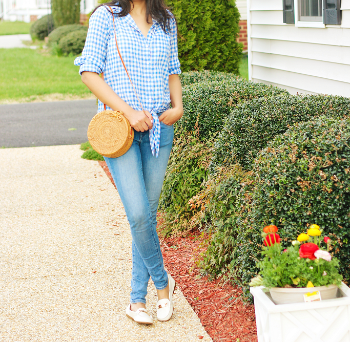 Spring Outfit Idea, Gingham Tie Front Shirt, Summer Jeans Outfits, J.Crew Gingham shirt, Blue Gingham shirt, Bali rattan bag, Rattan crossbody bag, coach loafers