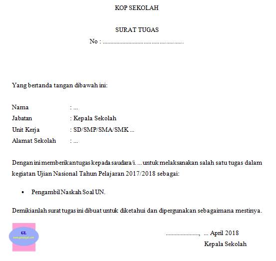 contoh format surat tugas pengambilan naskah UN (ujian nasional)