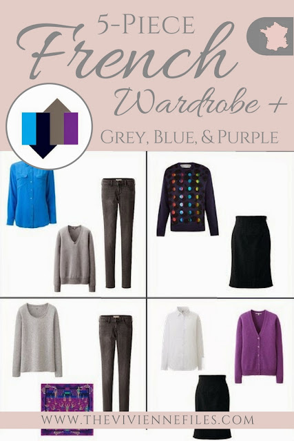 The 5-Piece French Capsule Wardrobe with a navy, grey, electric blue, and bright purple color palette