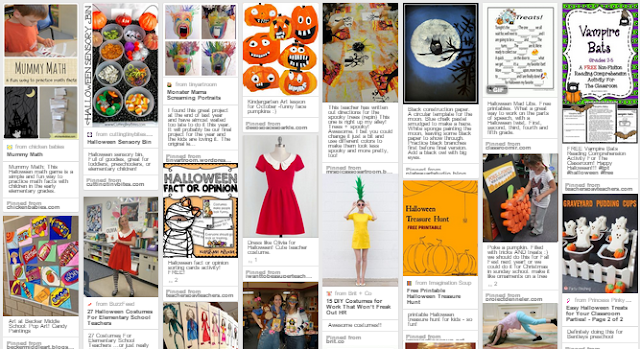 All Things October for the Elementary classroom - Make-a-monster art, book suggestions, super teacher costume freebie, Olivia the Pig costume step-by-step instructions, and Pinterest board with tons of Halloween ideas