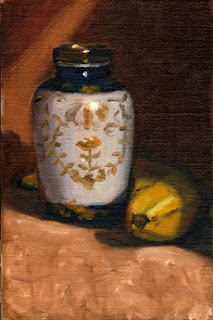 Oil painting of a banana beside a small Chinese-style porcelain vase.