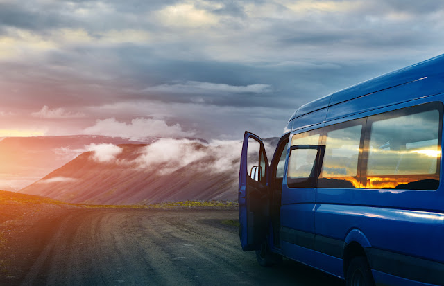 Bus on a mountain pass in Iceland