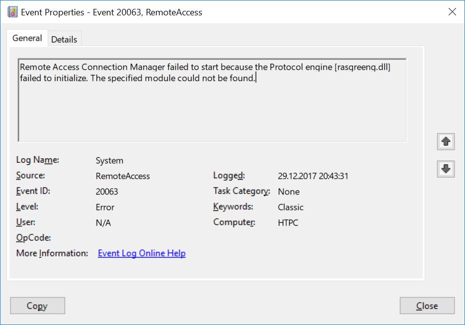 Oravatech: VPN server not working, RemoteAccess event 20063