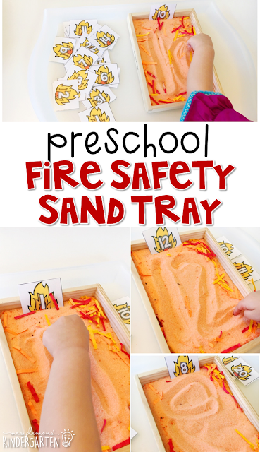 This fire sand tray is great for number writing and fine motor practice with a fire safety theme. Great for tot school, preschool, or even kindergarten!