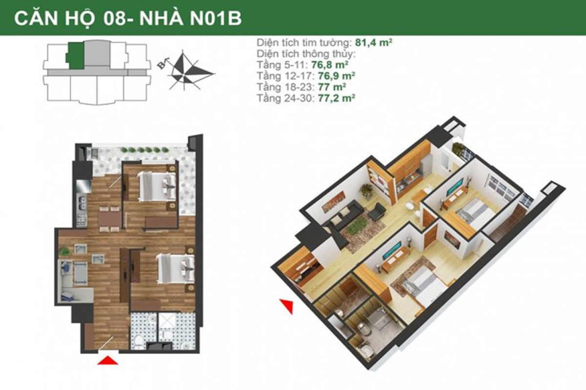 Mặt bằng căn hộ N01B