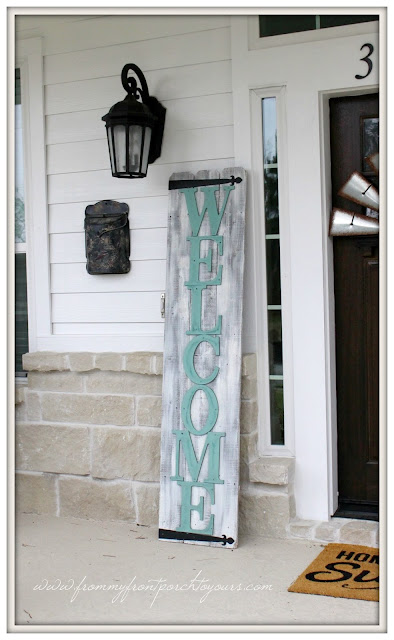 Farmhouse Front Porch-Suburban Farmhouse-DIY-Welcome Sign-Early Spring Porch-From My Front Porch To Yours