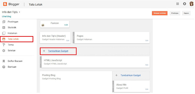 Buka blog Sobat, kemudian klik Tata Letak lalu klik Tambahkan Gadget.