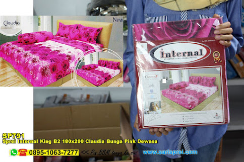 Sprei Internal King B2 180x200 Claudia Bunga Pink Dewasa