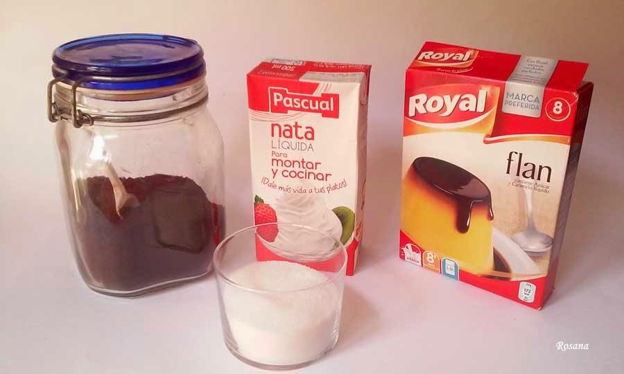 ingredientes flan de cafe bicolor