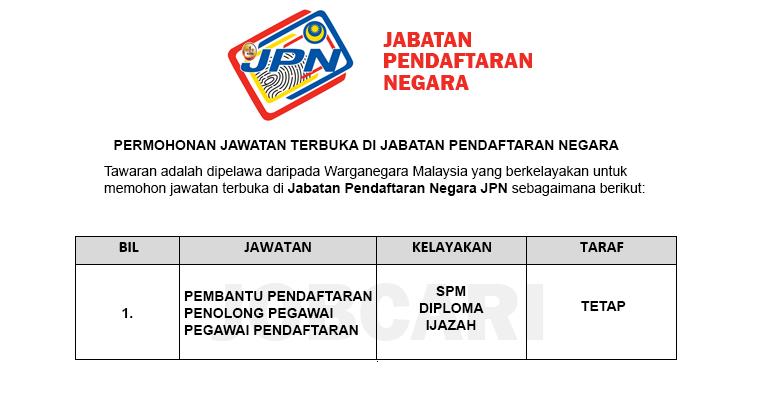 Permohonan Terbuka Jawatan Di Jabatan Pendaftaran Negara Jpn Jobcari Com Jawatan Kosong Terkini