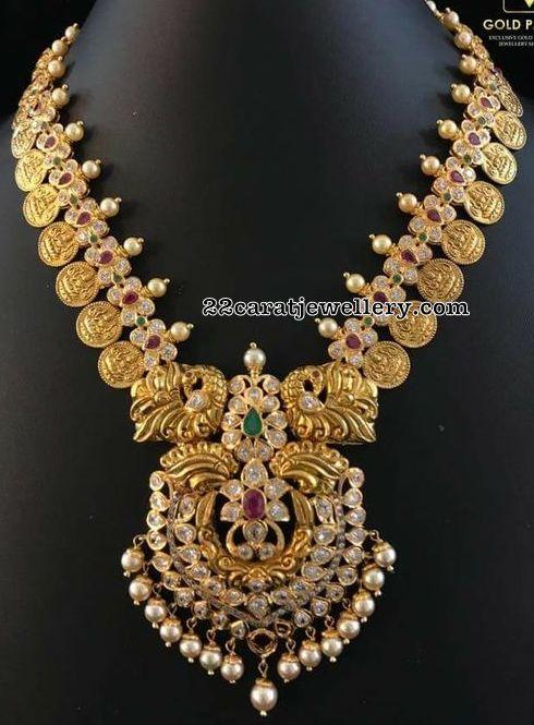Lakshmi Kasu Necklace with Peacock Pendant
