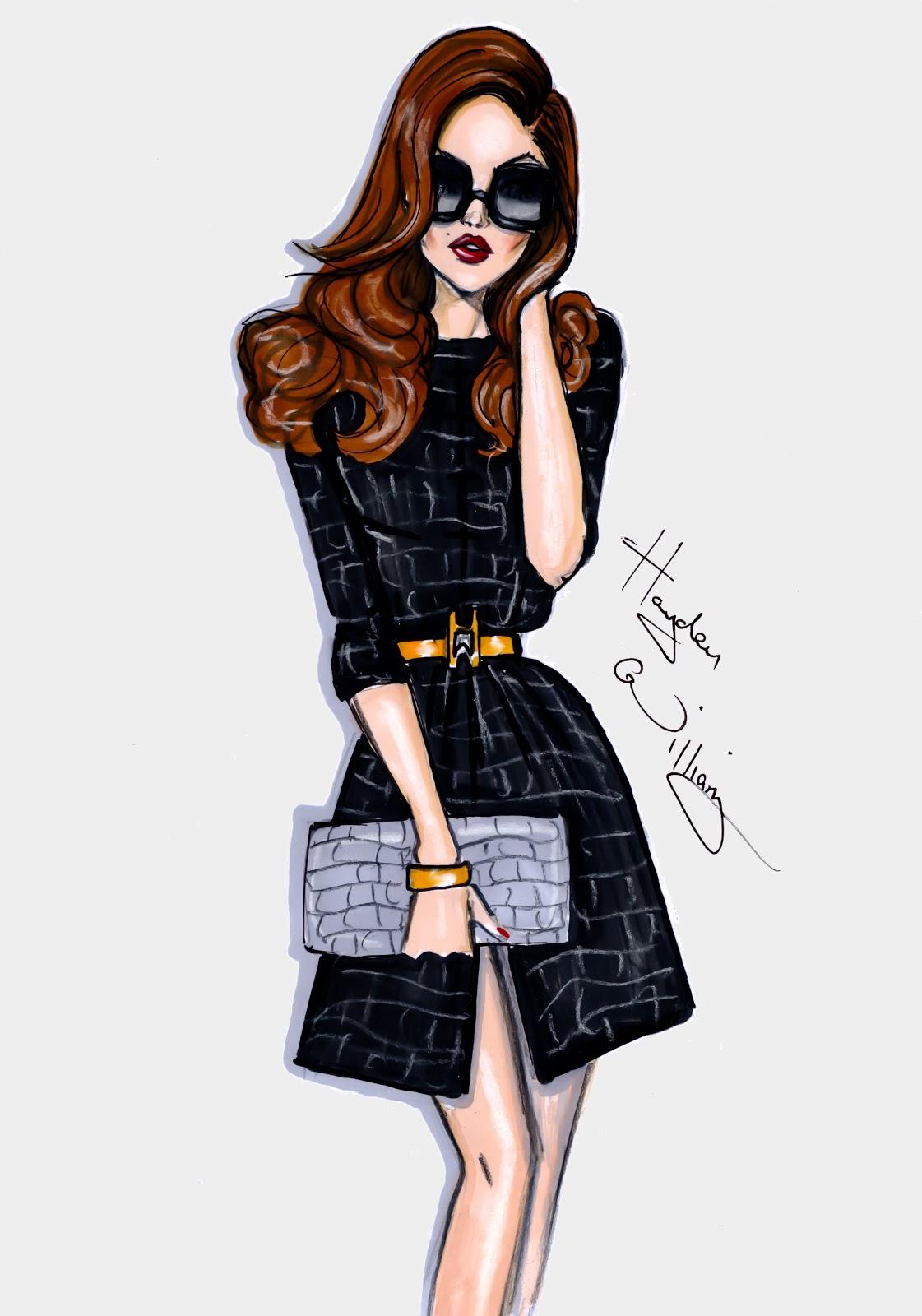 Fashion Illustration Royalty Free Stock Photo: Hayden Williams Fashion Illustrations: 'Black Magick' By