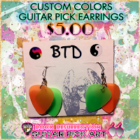 CUSTOM Color Guitar Pick Earrings (Pick Your Colors!) $5.00