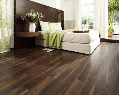 Sàn gỗ gam màu tối cho phòng ngủ