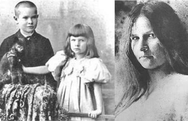 Georg Trakl, de niño, junto a su hermana Gretl a principios del siglo XX. Y Gretl dos años antes de suicidarse