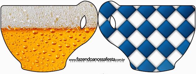 Tarjeta con forma de taza de Fiesta de la Cerveza.