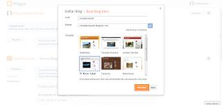 Gambar halaman saat kita akan membuat blog baru dengan mengisikan nama, alamat dan template