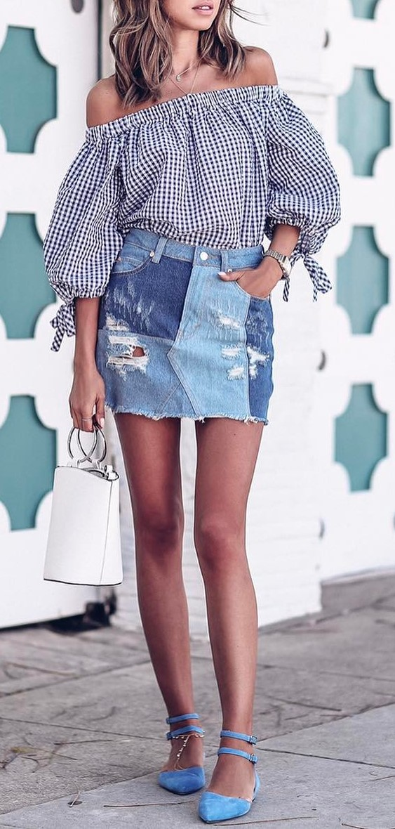 cute summer outfit: shirt + denim skirt + bag