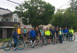 Most of the group lined up and ready to roll, Bike to Work Day 2017